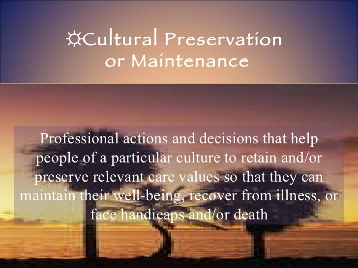 ☼ Cultural Preservation  or Maintenance Professional actions and decisions that help people of a particular culture to ret...
