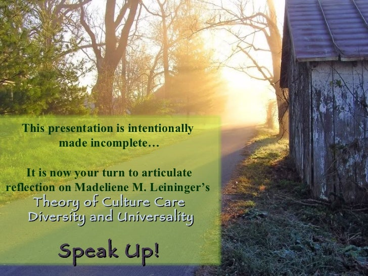 This presentation is intentionally  made incomplete… It is now your turn to articulate reflection on Madeliene M. Leininge...