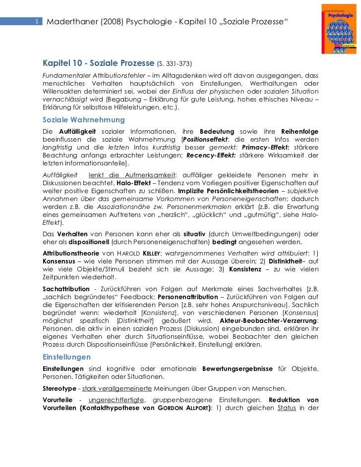 """1    Maderthaner (2008) Psychologie - Kapitel 10 """"Soziale Prozesse""""    Kapitel 10 - Soziale Prozesse (S. 331-373)    Funda..."""