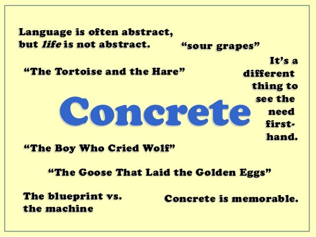 Made to stick communication styles for Concrete diction