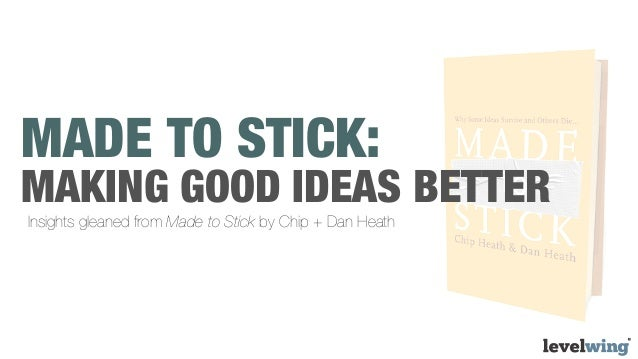 MADE TO STICK:MAKING GOOD IDEAS BETTERInsights gleaned from Made to Stick by Chip + Dan Heath