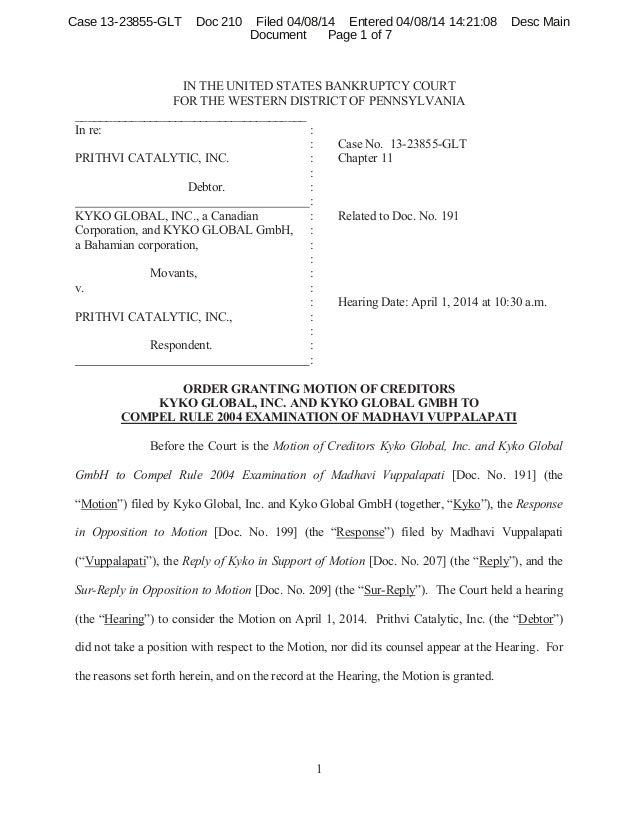 1 IN THE UNITED STATES BANKRUPTCY COURT FOR THE WESTERN DISTRICT OF PENNSYLVANIA _____________________________________ In ...