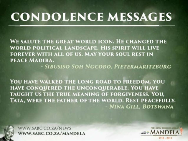 Mandela Condolence Messages