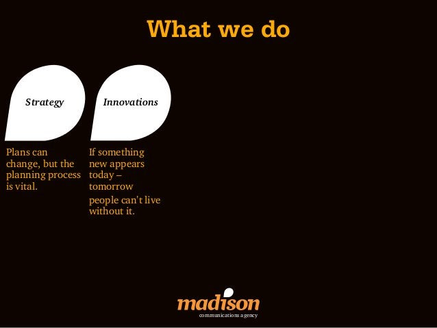 What we do    Strategy          InnovationsPlans can          If somethingchange, but the    new appearsplanning process  ...