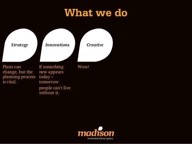 What we do    Strategy          Innovations         CreativePlans can          If something        Wow!change, but the    ...