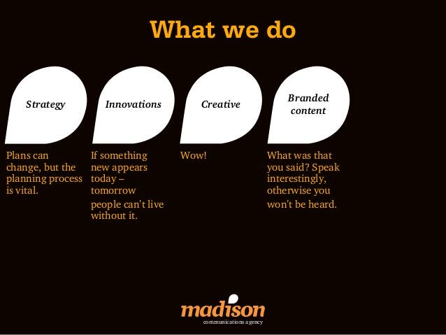 What we do                                                                      Branded    Strategy          Innovations  ...