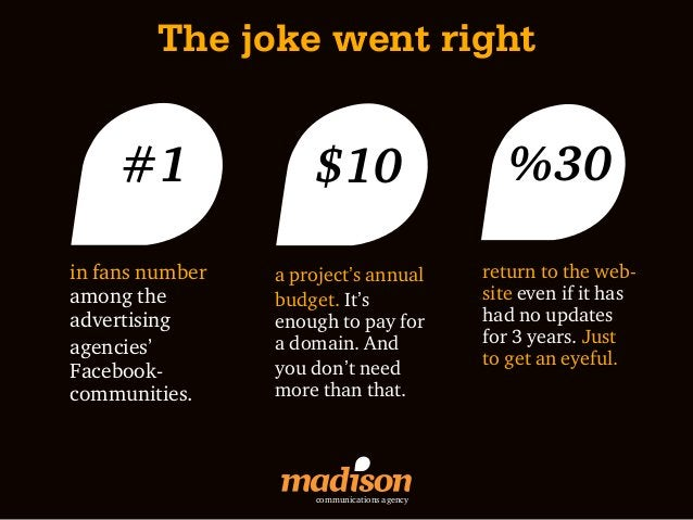 The joke went right     #1              $10                        %30in fans number   a project's annual          return ...