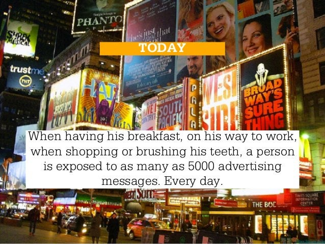 TODAYWhen having his breakfast, on his way to work,when shopping or brushing his teeth, a person is exposed to as many as ...