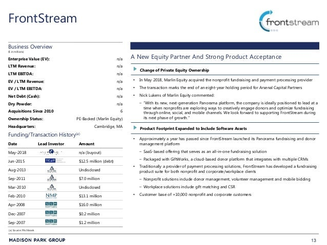 13 FrontStream • In May 2018, Marlin Equity acquired the nonprofit fundraising and payment processing provider • The trans...