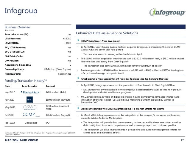 17 Infogroup • In April 2017, Court Square Capital Partners acquired Infogroup, representing the end of CCMP Capital Advis...