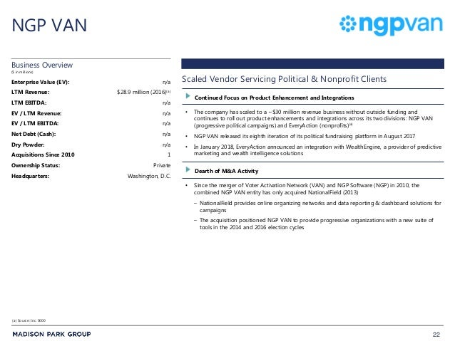 22 NGP VAN • The company has scaled to a ~$30 million revenue business without outside funding and continues to roll out p...