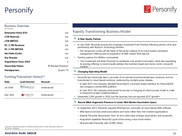 23 Personify • In July 2018, Personify announced a strategic investment from Pamlico following almost a five year partners...