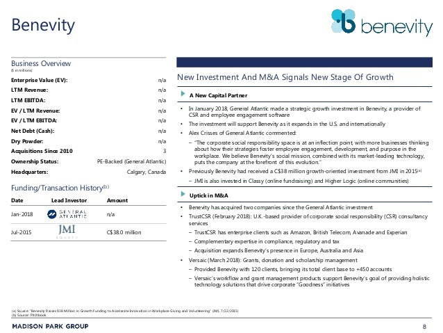 8 Benevity • In January 2018, General Atlantic made a strategic growth investment in Benevity, a provider of CSR and emplo...