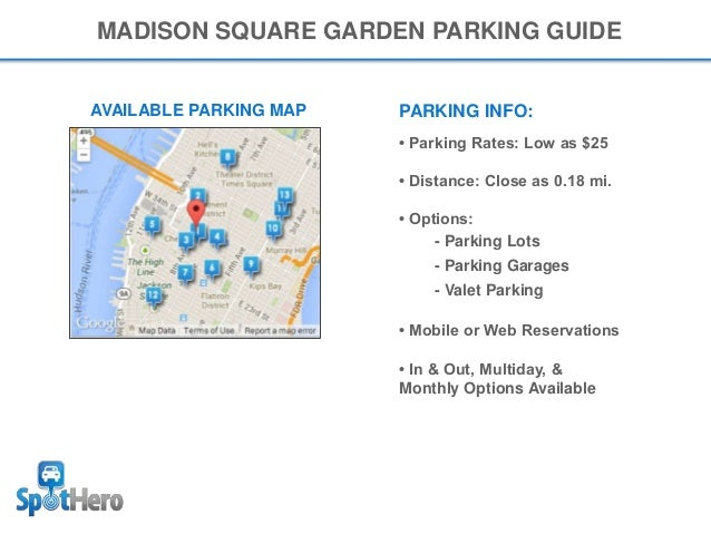 chart square at seating venues parking madison garden seatgeek map