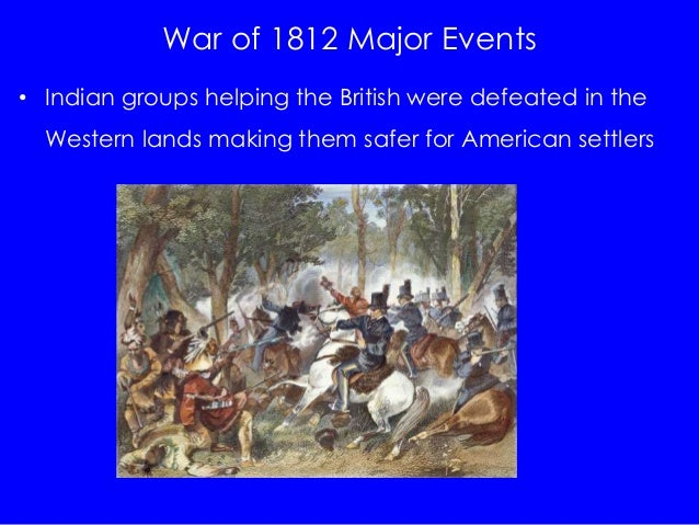the events and battles in the war of 1812 This timeline allows you to explore important events that occurred during the war  of 1812 (which ended in 1815), as well as significant events that happened.