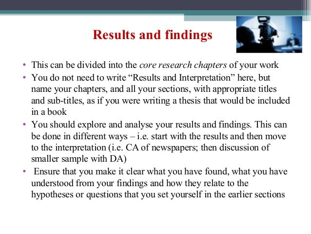 How to write the results section of a dissertation