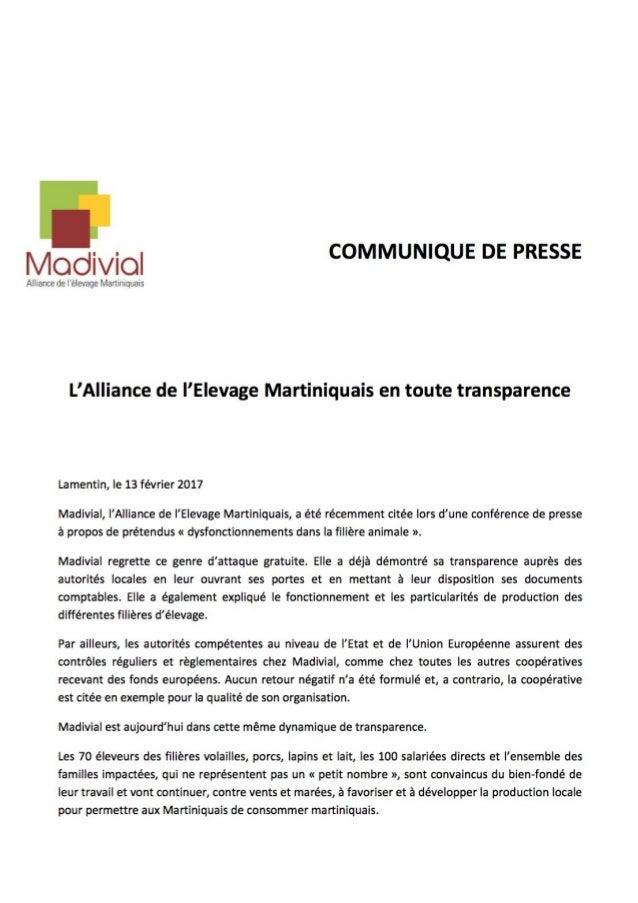 Communiqué presse Madivial