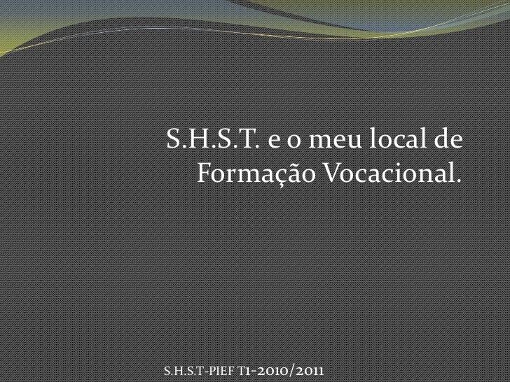 S.H.S.T. e o meu local de Formação Vocacional.<br />S.H.S.T-PIEF T1-2010/2011<br />