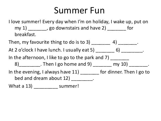 photo relating to Summer Mad Libs Printable named Ridiculous libs for commencing ESL cl