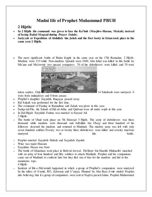 Madni life of Prophet Muhammad PBUH 2 Hijrih:  In 2 Hijrih the command was given to face the Ka'bah (Masjid-e-Haram, Maka...
