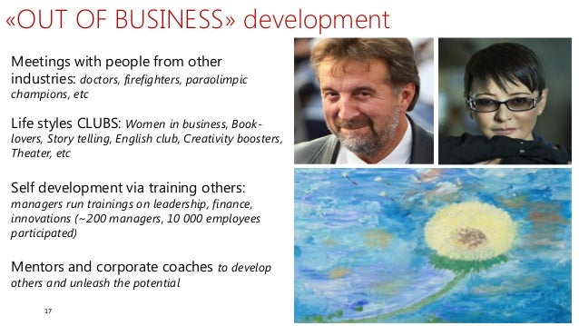 17 Meetings with people from other industries: doctors, firefighters, paraolimpic champions, etc «OUT OF BUSINESS» develop...
