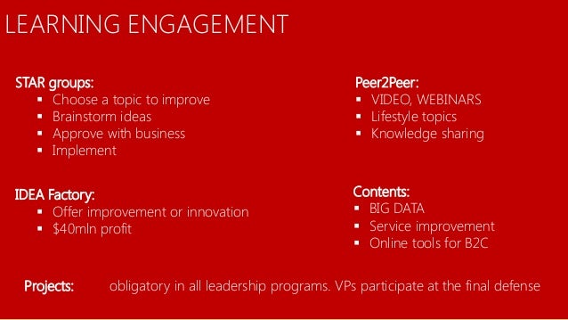 18 LEARNING ENGAGEMENT Peer2Peer:  VIDEO, WEBINARS  Lifestyle topics  Knowledge sharing STAR groups:  Choose a topic t...