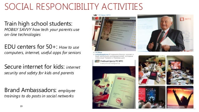 19 Train high school students: MOBILY SAVVY how tech your parents use on-line technologies SOCIAL RESPONCIBILITY ACTIVITIE...