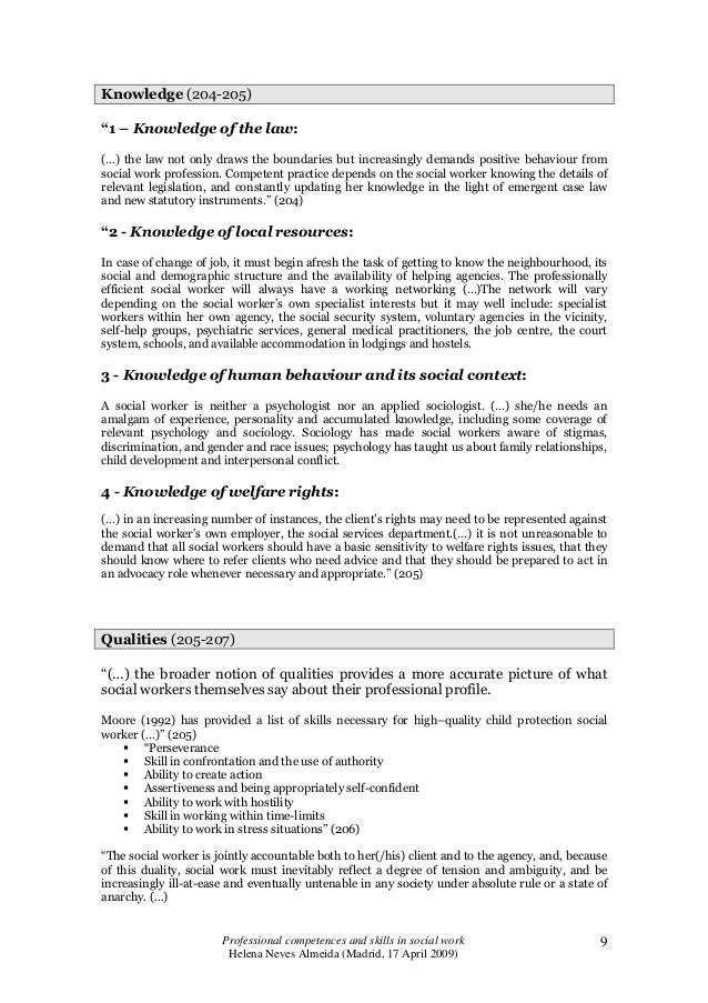 examples of social work knowledge