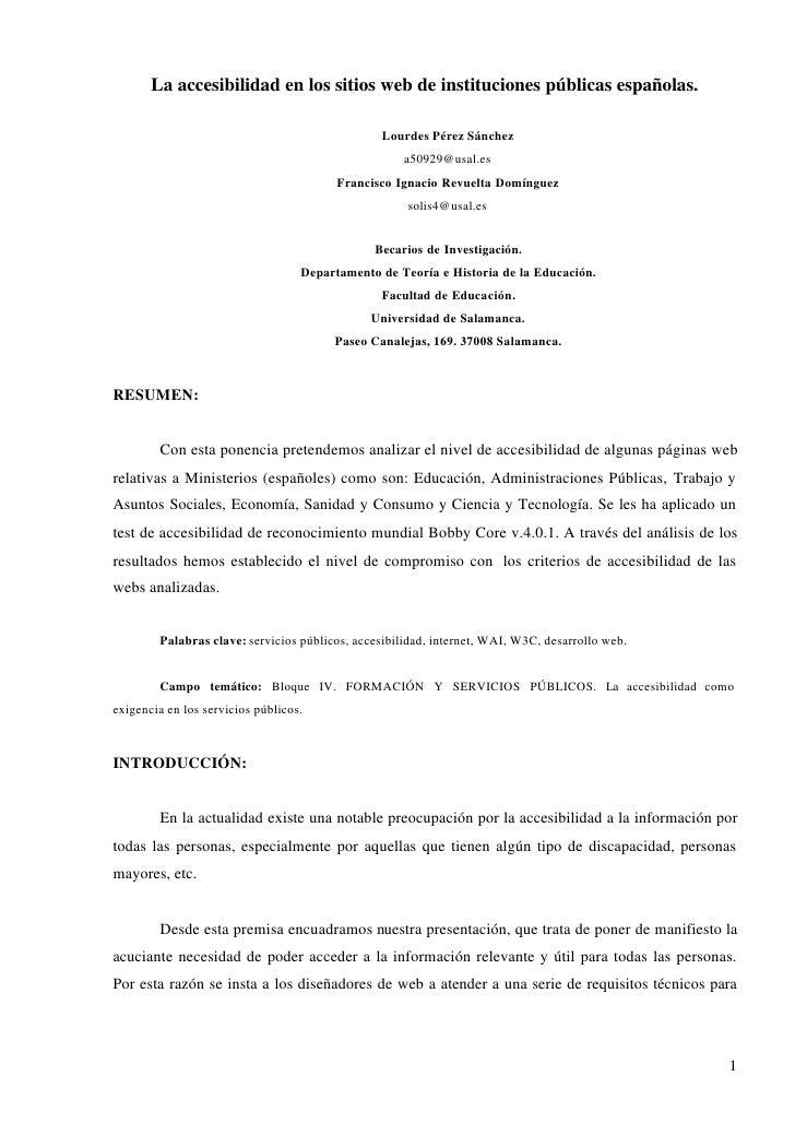 La accesibilidad en los sitios web de instituciones públicas españolas.                                                  L...