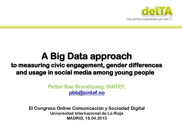 A Big Data approachto measuring civic engagement, gender differences  and usage in social media among young people        ...
