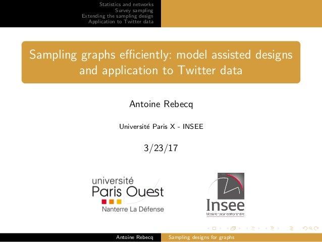 Statistics and networks Survey sampling Extending the sampling design Application to Twitter data Sampling graphs efficientl...