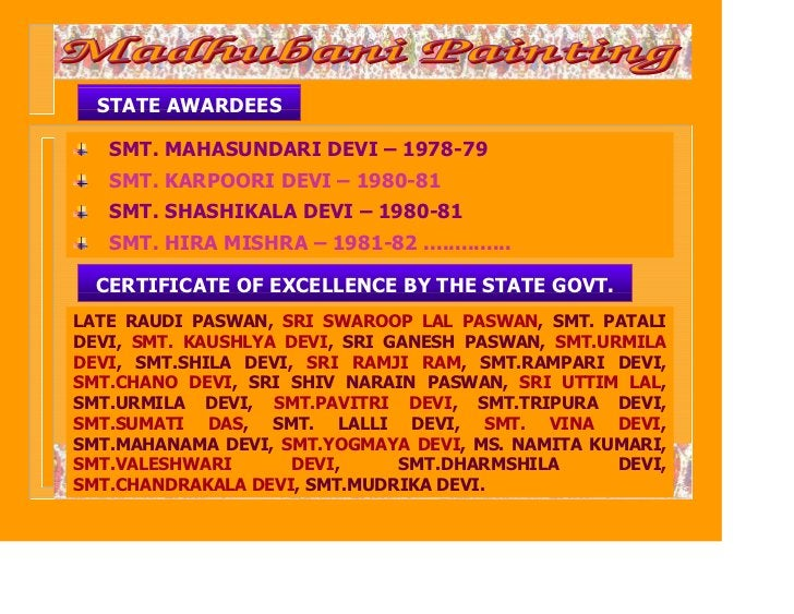 STATE AWARDEES   SMT. MAHASUNDARI DEVI – 1978-79   SMT. KARPOORI DEVI – 1980-81   SMT. SHASHIKALA DEVI – 1980-81   SMT. HI...