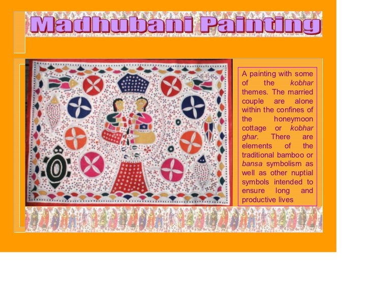 A painting with someof      the     kobharthemes. The marriedcouple are alonewithin the confines ofthe        honeymooncot...