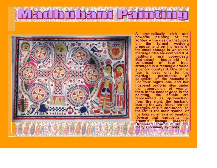 A    symbolically      rich   andpowerful painting of thekohbar -- the design that goeson     the     formal     weddingpr...