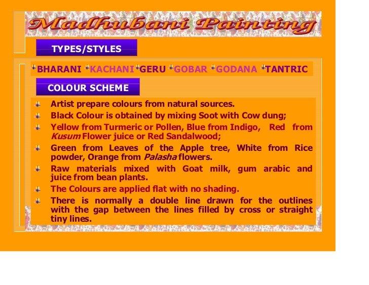TYPES/STYLESBHARANI KACHANI GERU GOBAR GODANA TANTRIC COLOUR SCHEME  Artist prepare colours from natural sources.  Black C...