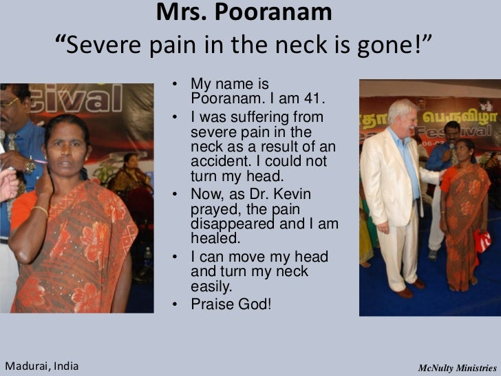 "Mrs. Pooranam ""Severe pain in the neck is gone!"" • My name is Pooranam. I am..."