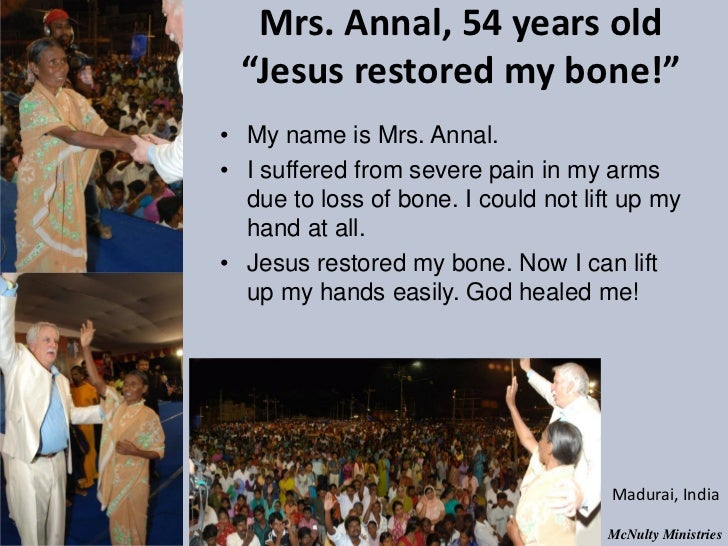 "Mrs. Annal, 54 years old ""Jesus restored my bone!""• My name is Mrs. Annal.• I suffered from severe pain in my arms due t..."