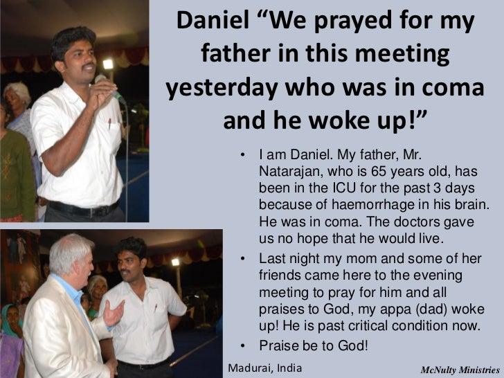 "Daniel ""We prayed for my father in this meetingyesterday who was in coma and he woke up!"" • I am Daniel. My fat..."