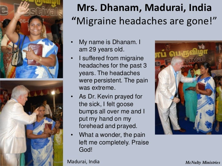 "Mrs. Dhanam, Madurai, India ""Migraine headaches are gone!"" • My name is Dhanam. I am 29 years old. • I suffered from mig..."