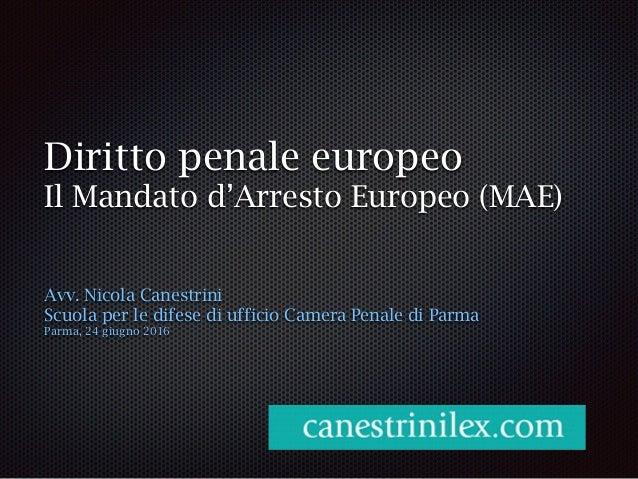 Diritto penale europeo Il Mandato d'Arresto Europeo (MAE) Avv. Nicola Canestrini Scuola per le difese di ufficio Camera Pe...