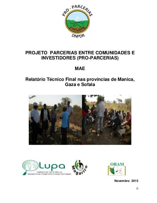 PROJETO PARCERIAS ENTRE COMUNIDADES E INVESTIDORES (PRO-PARCERIAS) MAE Relatório Técnico Final nas províncias de Manica, G...
