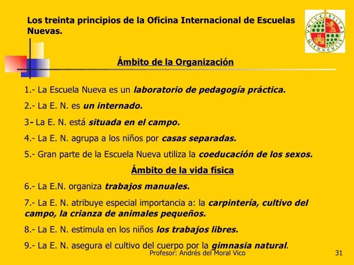 Los treinta principios de la Oficina Internacional de Escuelas Nuevas. Ámbito de la Organización 1.- La Escuela Nueva es u...