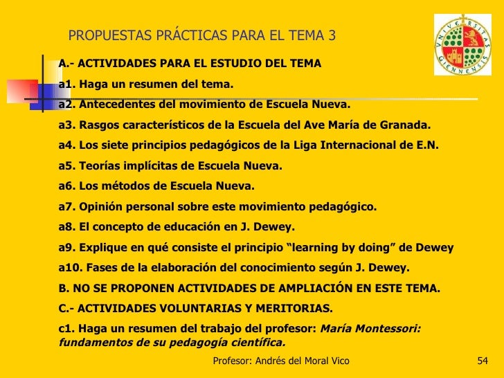 PROPUESTAS PRÁCTICAS PARA EL TEMA 3 A.- ACTIVIDADES PARA EL ESTUDIO DEL TEMA a1. Haga un resumen del tema. a2. Antecedente...