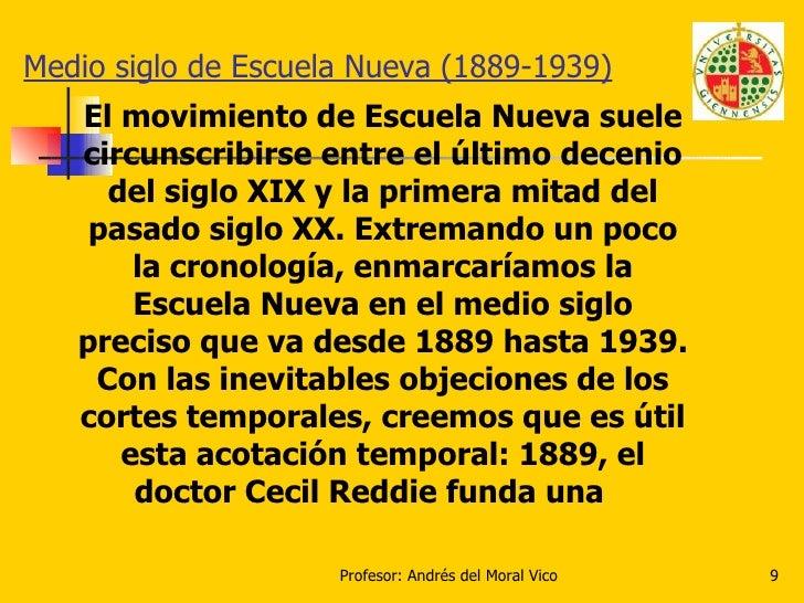 Medio siglo de Escuela Nueva (1889-1939) El movimiento de Escuela Nueva suele circunscribirse entre el último decenio del ...