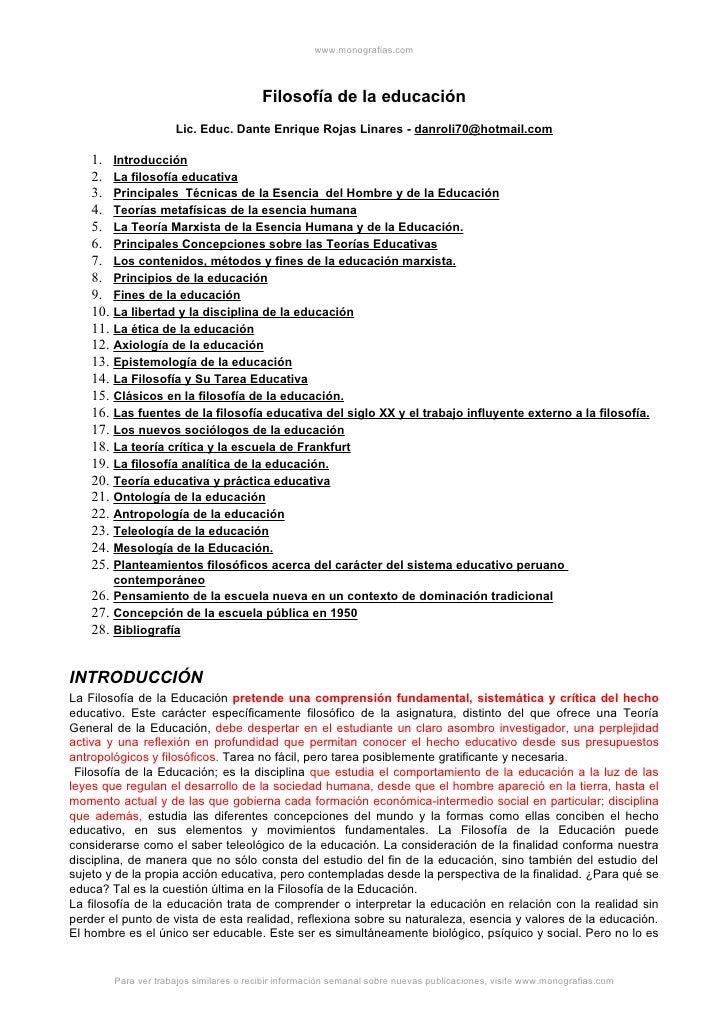 www.monografias.com                                              Filosofía de la educación                      Lic. Educ....