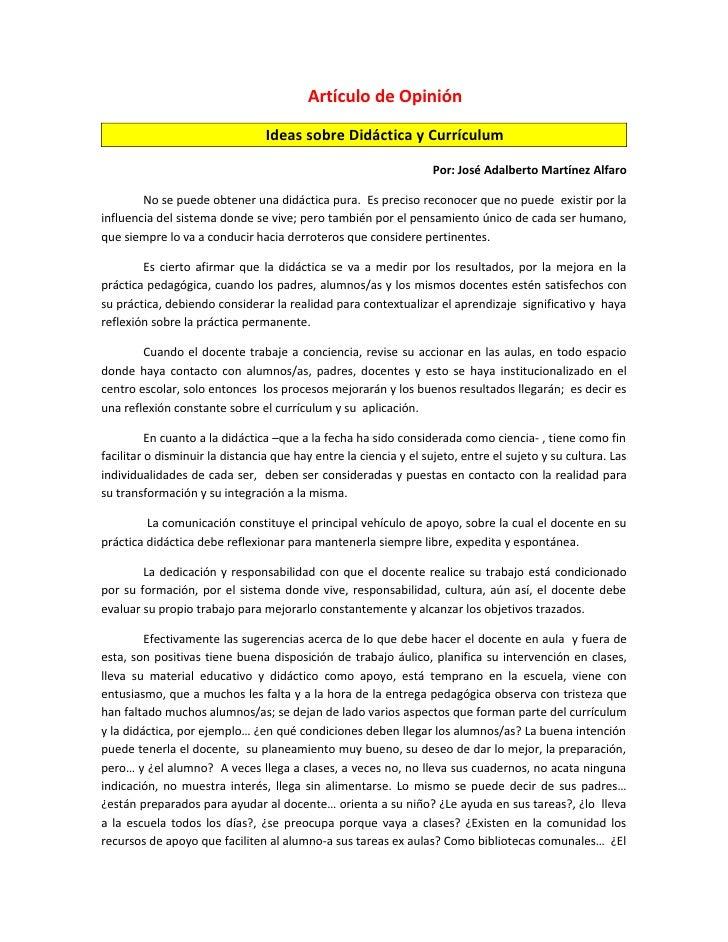 Artículo de Opinión                                   Ideas sobre Didáctica y Currículum                                  ...