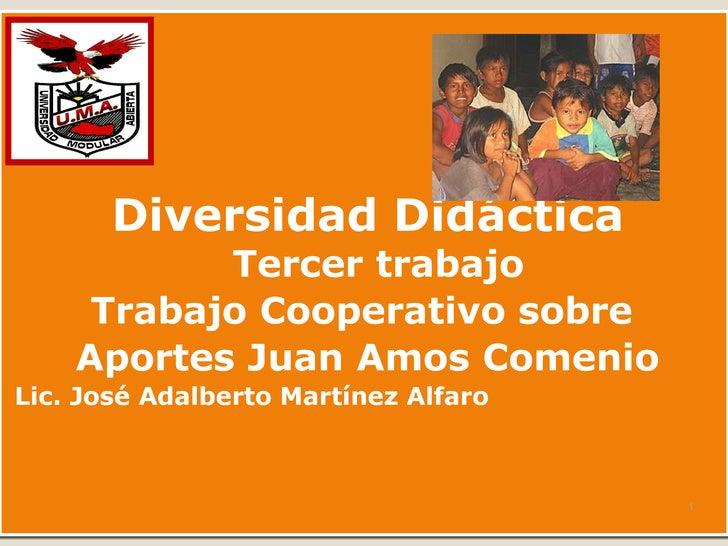 <ul><li>Diversidad Did á ctica Tercer trabajo </li></ul><ul><li>Trabajo Cooperativo sobre  </li></ul><ul><li>Aportes Juan ...