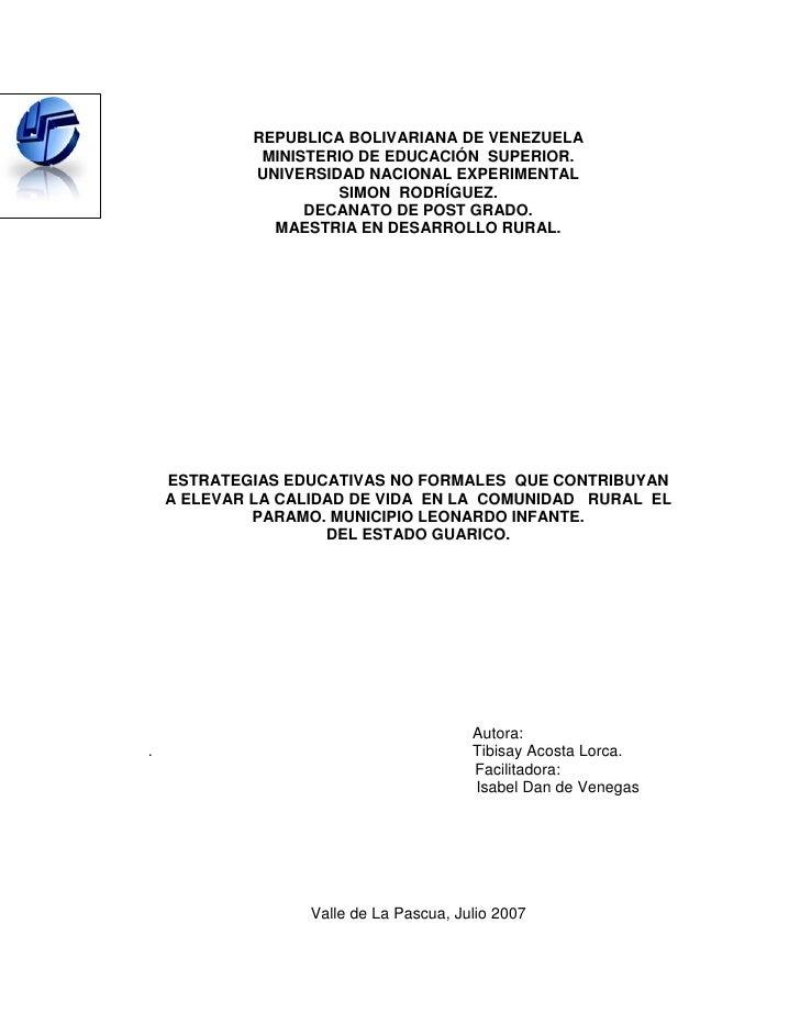 REPUBLICA BOLIVARIANA DE VENEZUELA              MINISTERIO DE EDUCACIÓN SUPERIOR.             UNIVERSIDAD NACIONAL EXPERIM...