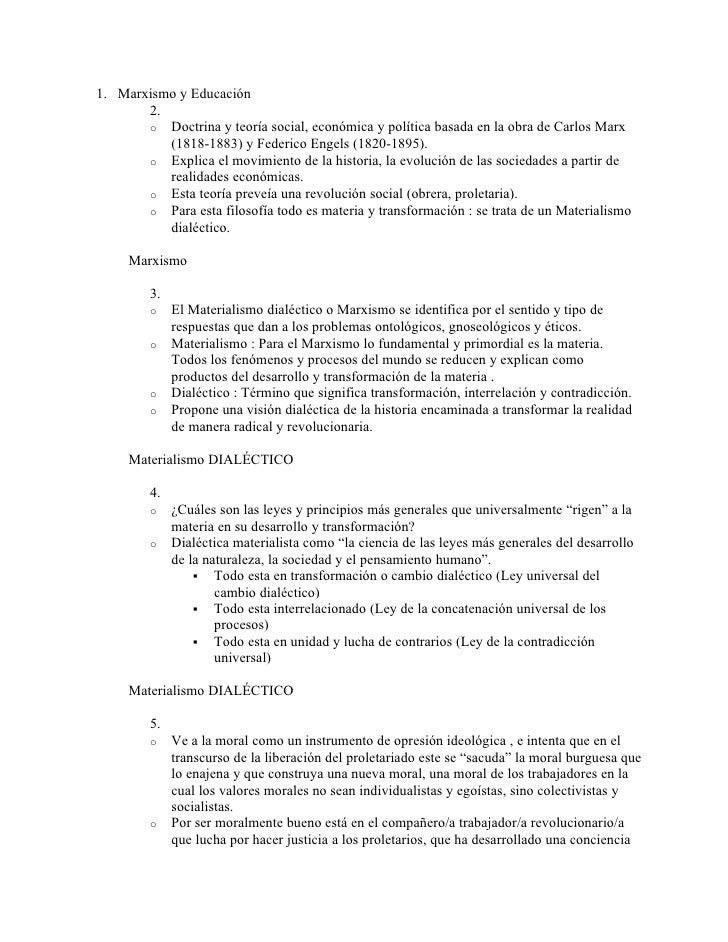 1. Marxismo y Educación        2.        o Doctrina y teoría social, económica y política basada en la obra de Carlos Marx...