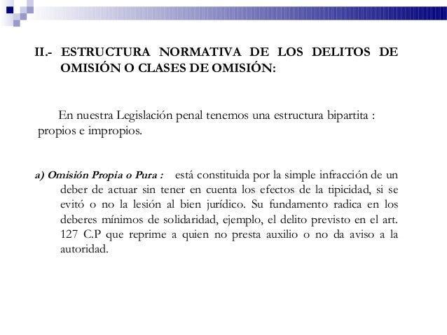 II.- ESTRUCTURA NORMATIVA DE LOS DELITOS DE OMISIÓN O CLASES DE OMISIÓN: En nuestra Legislación penal tenemos una estructu...